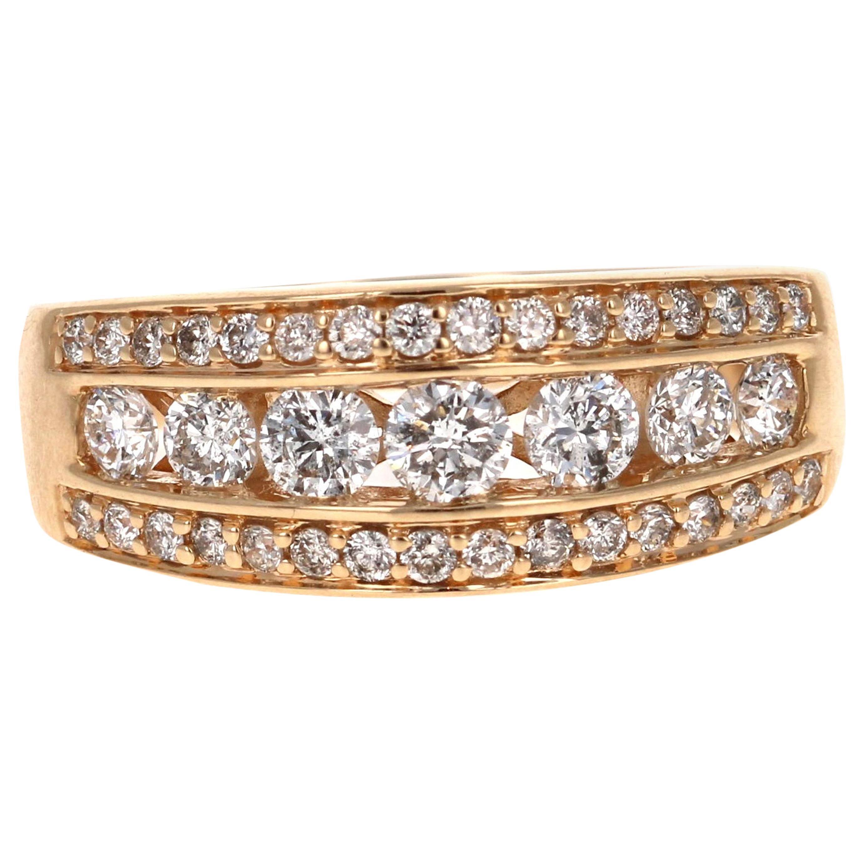 1.20 Carat Diamond Band 14 Karat Yellow Gold