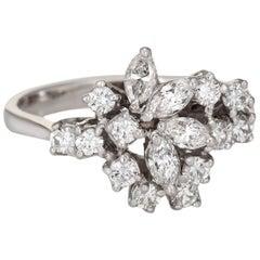 1.20 Carat Diamond Cluster Ring Mixed Cuts 18 Karat Gold Cocktail Jewelry