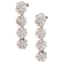 1.20 Carat Diamond Cluster White Gold Drop Dangle Earrings