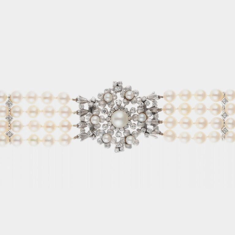 Round Cut 1.20 Carat Diamond Cultured Pearl White Gold Four Row Bracelet For Sale