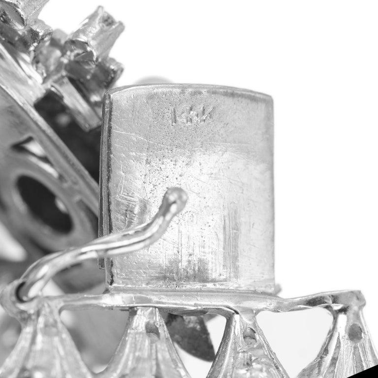 Women's 1.20 Carat Diamond Cultured Pearl White Gold Four Row Bracelet For Sale