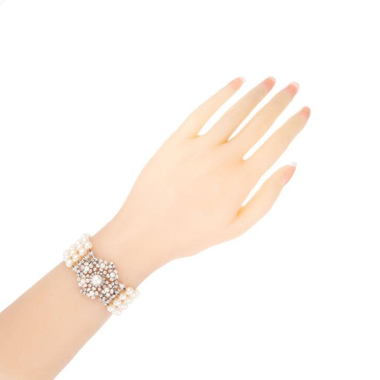 1.20 Carat Diamond Cultured Pearl White Gold Four Row Bracelet For Sale 1