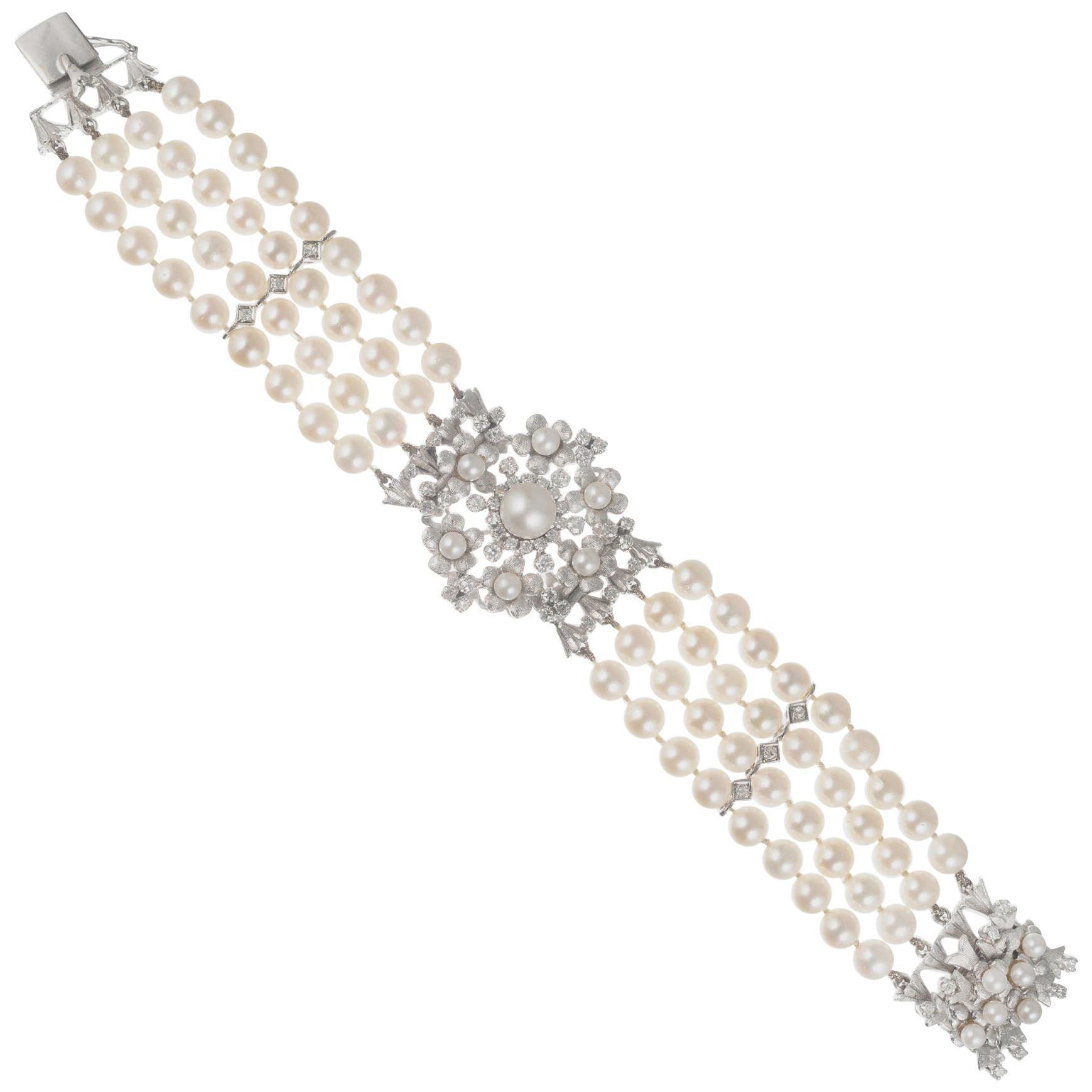1.20 Carat Diamond Cultured Pearl White Gold Four Row Bracelet