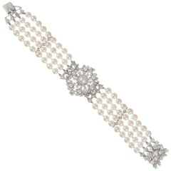 1.20 Carat Diamond Cultured Pearl White Gold Four Row Bracelet