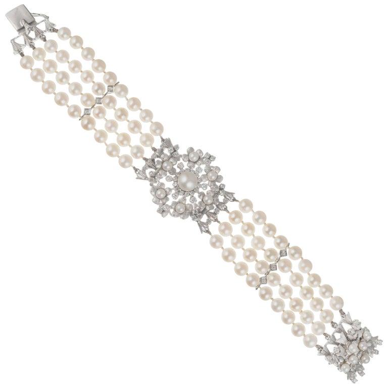 1.20 Carat Diamond Cultured Pearl White Gold Four Row Bracelet For Sale