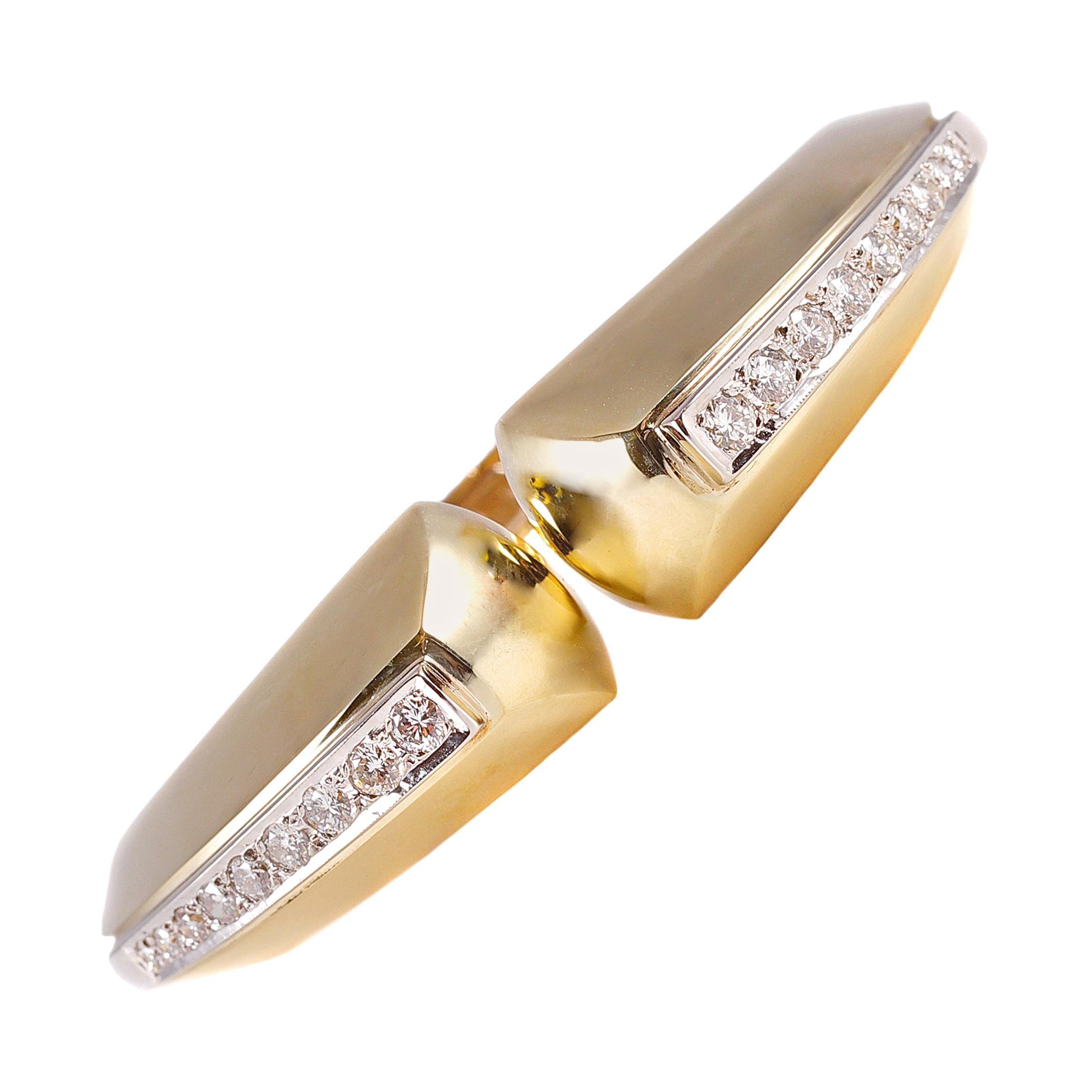 1.20 Carat Diamond Hinged Cuff Bracelet in 14 Karat Gold