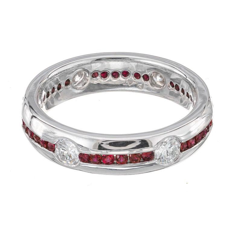 Round Cut 1.20 Carat Diamond Ruby Platinum Wedding Band Ring For Sale