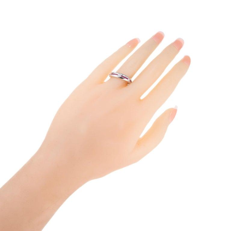 1.20 Carat Diamond Ruby Platinum Wedding Band Ring For Sale 1