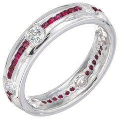 1.20 Carat Diamond Ruby Platinum Wedding Band Ring