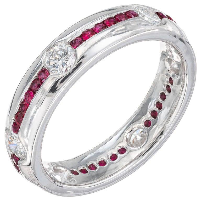 1.20 Carat Diamond Ruby Platinum Wedding Band Ring For Sale