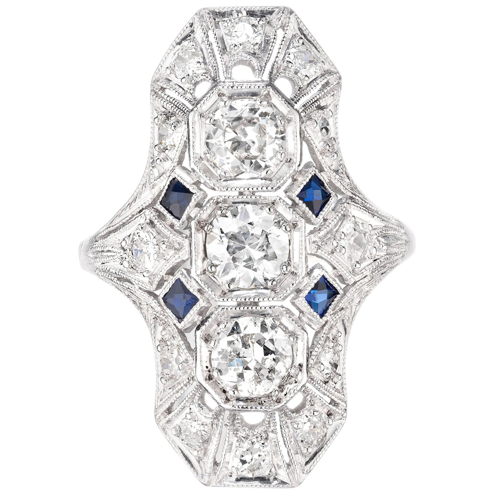 1.20 Carat Diamond Sapphire Art Deco Platinum Dome Ring