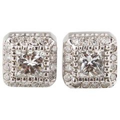 1.20 Carat Diamond Solitaire Stud Earrings with Accent Stones in White Gold