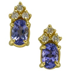 1.20 Carat Diamond Tanzanite Stud Earrings Oval 14 Karat Gold Modern Estate
