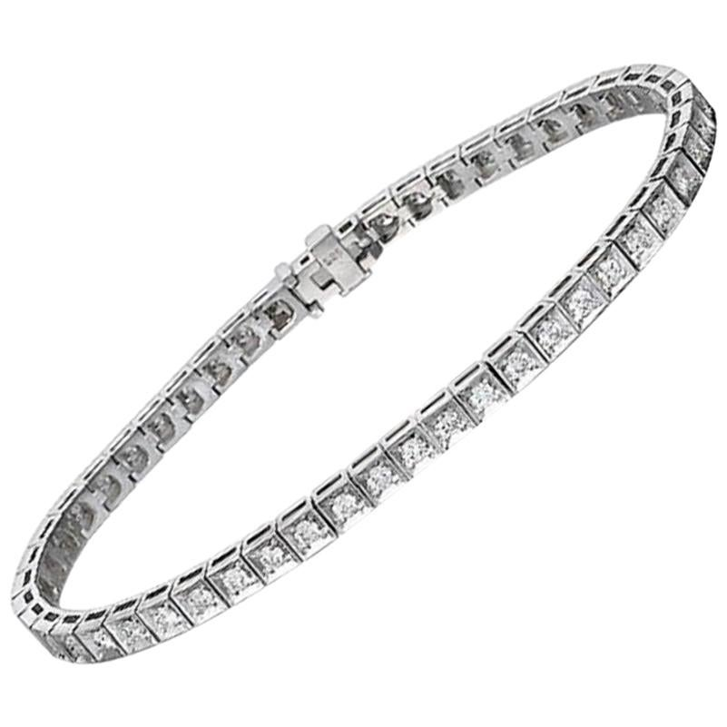 1.20 Carat Diamond Tennis Bracelet, 14 Karat White Gold Diamond Bracelet