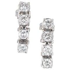 1.20 Carat Diamond White Gold Dangle Earrings