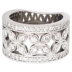 1.20 Carat Diamond Wide Anniversary Band Millegrain Floret Design White Gold