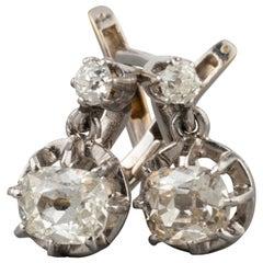 1.20 Carat Diamonds Antique French Earrings