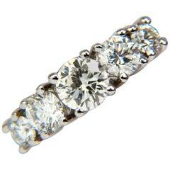 1.20 Carat Diamonds Band Five-Stone Ring 14 Karat H/VS