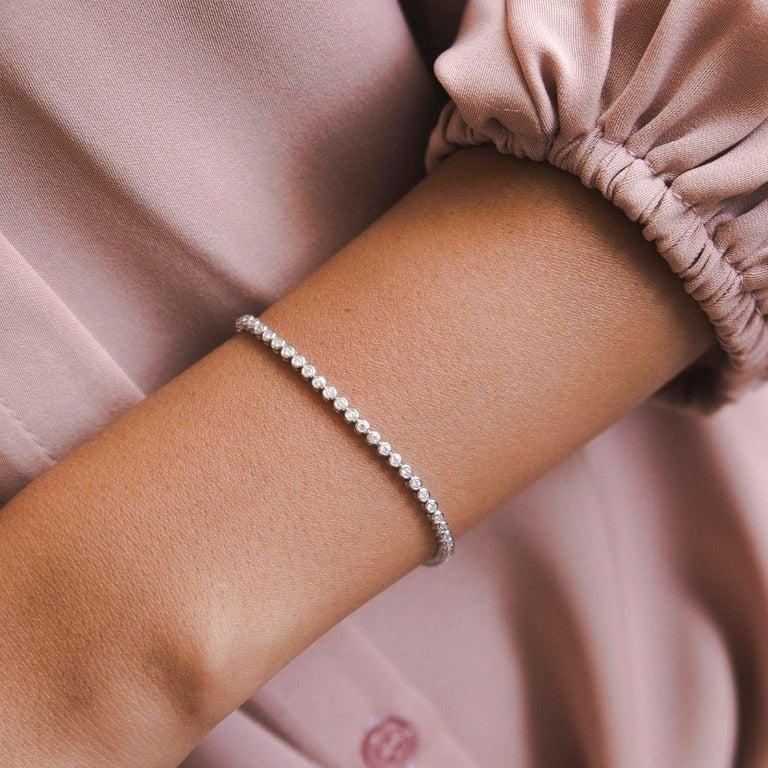 1.20 Carat Diamonds Tennis Bracelet in 14 Karat White Gold - Shlomit Rogel In New Condition For Sale In Ramatgan, IL