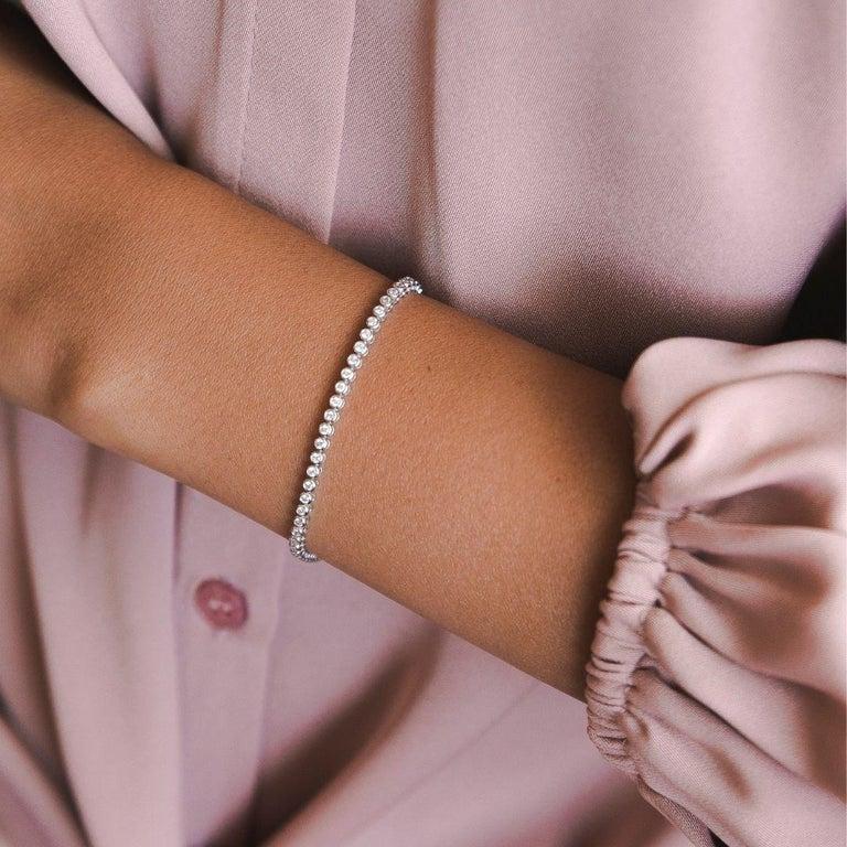 Round Cut 1.20 Carat Diamonds Tennis Bracelet in 14 Karat White Gold - Shlomit Rogel For Sale