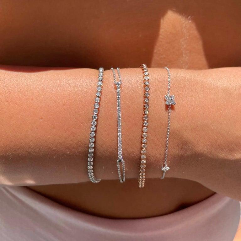 Women's 1.20 Carat Diamonds Tennis Bracelet in 14 Karat White Gold - Shlomit Rogel For Sale