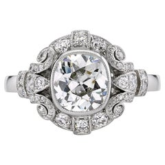 1.20 Carat EGL Certified Vintage Cushion Cut Engagement Ring