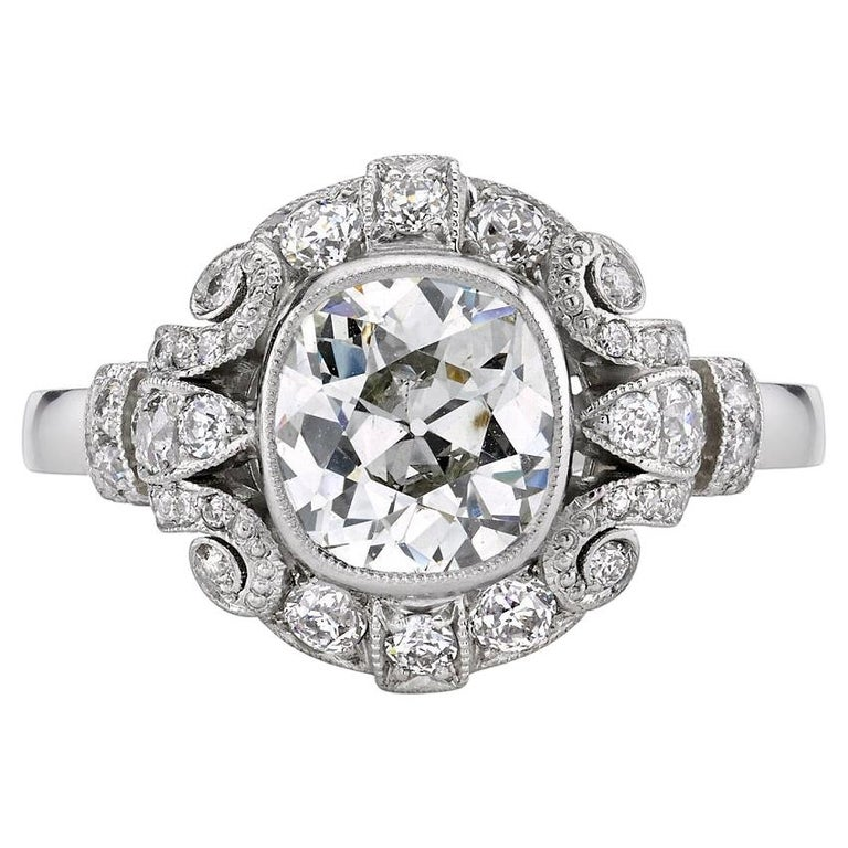 1.20 Carat EGL Certified Cushion Diamond Set in a Handcrafted Platinum Ring For Sale