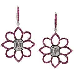1.20 Carat Emerald Cut Diamond and Ruby 18 Karat Gold Floral Earring