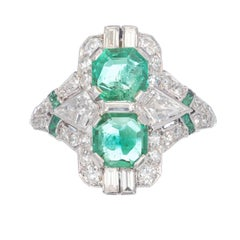 1.20 Carat Emerald Diamond Art Deco Platinum Cocktail Ring