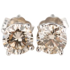 1.20 Carat Fancy Light Brown Diamond Solitaire Stud Earrings in White Gold