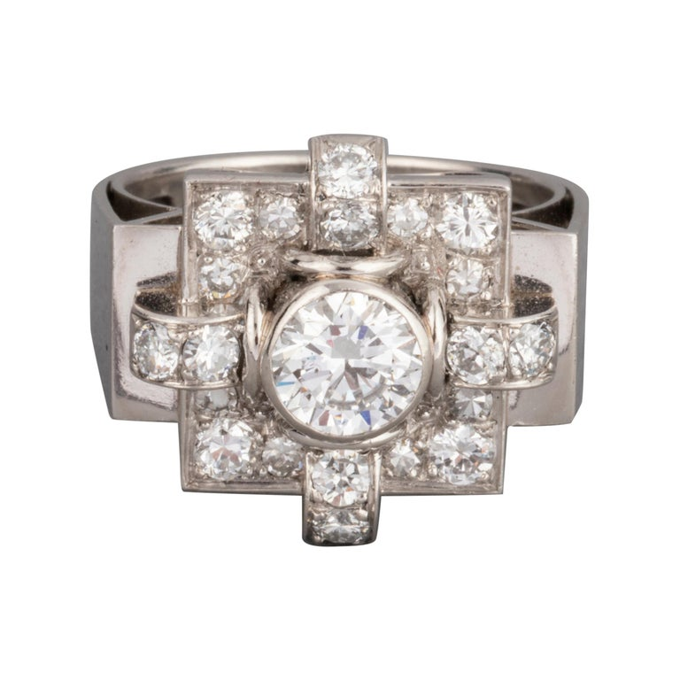 1.20 Carat French Art Deco Ring For Sale