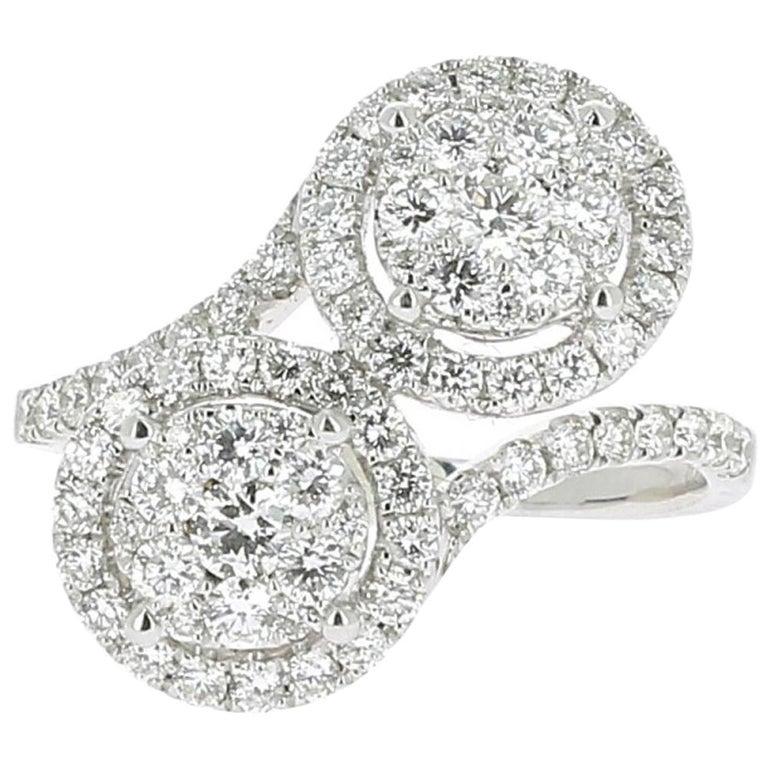 1.20 Carat GVS Forever Ring 18 Karat White Gold 78 Round Diamonds Cocktail Ring For Sale