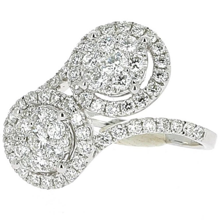 Contemporary 1.20 Carat GVS Forever Ring 18 Karat White Gold 78 Round Diamonds Cocktail Ring For Sale