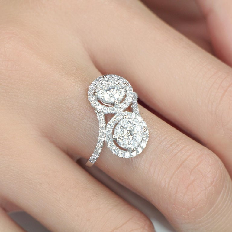 Round Cut 1.20 Carat GVS Forever Ring 18 Karat White Gold 78 Round Diamonds Cocktail Ring For Sale