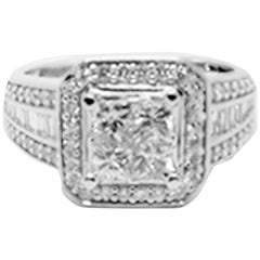 1.20 Carat Invisible Diamond Princess and Baguette Ring Halo