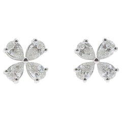 1.20 Carat Lucky Clover Diamond Earrings 18K Gold Earrings Fashion Earrings