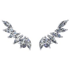 1.20 Carat Marquise Diamonds 18 Karat White Gold Wing Earrings