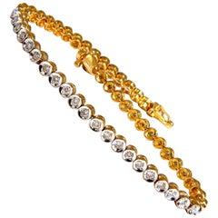 1.20 Carat Natural Diamonds Circular-Link Bracelet 14 Karat