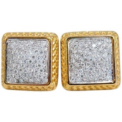1.20 Carat Natural Diamonds Cluster Bead Clip Earrings 18 Karat & Trim
