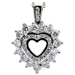1.20 Carat Natural Diamonds Heart Pendant 14 Karat Double Row