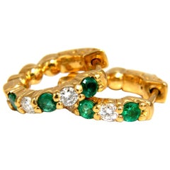 1.20 Carat Natural Emerald Diamonds Alternated Hoop Earrings 14 Karat