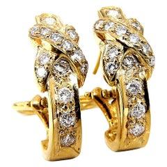 1.20 Carat Natural Round Diamonds X Hoop Earrings 14 Karat