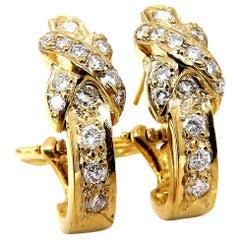 1.20 Carat Natural Round Diamonds X-Hoop Earrings 14 Karat