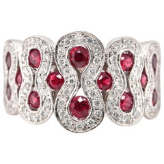 1.20 Carat Natural Ruby and Diamond Cocktail Ring Set in 18 Karat White Gold