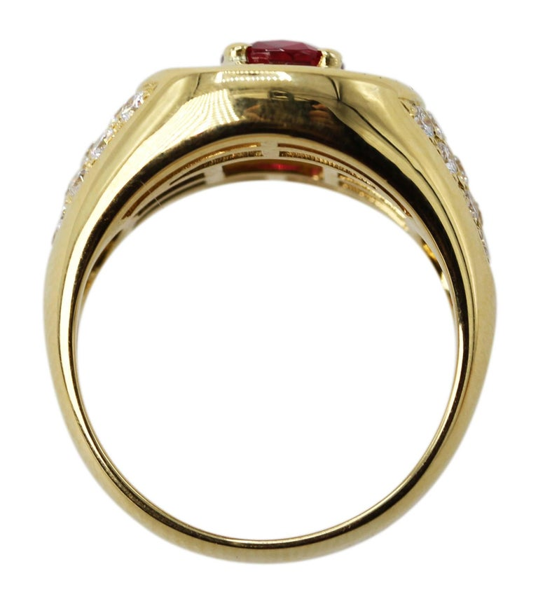 1.20 Carat Natural Ruby and Diamond Ring In Excellent Condition For Sale In Atlanta, GA
