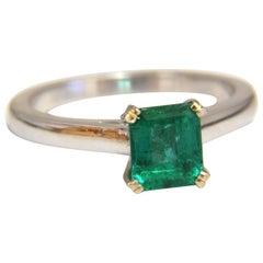1.20 Carat Natural Square Bright Green Square Emerald Ring 14 Karat Solitaire