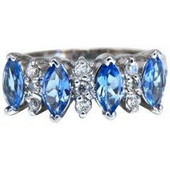 1.20 Carat Natural Tanzanite Diamond Band Ring 14 Karat Gold