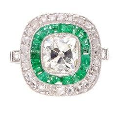 1.20 Carat Old Mine Cut Diamond Emerald Platinum Engagement Ring