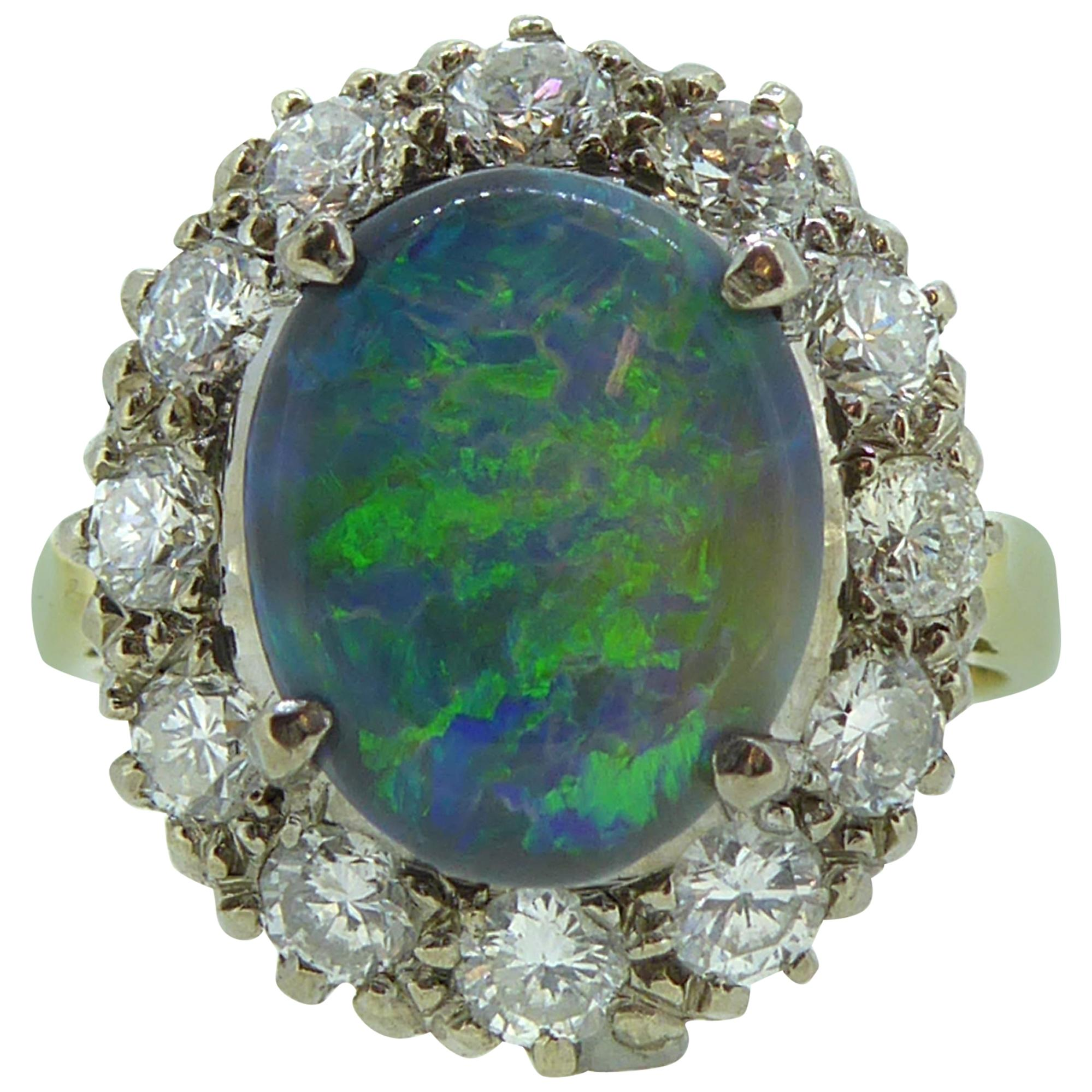 3395e5d57ffadb 1.20 Carat Opal and Diamond Cluster Ring For Sale at 1stdibs