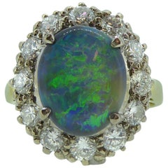 1.20 Carat Opal and Diamond Cluster Ring